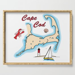 Cape Cod Map with Sailboat, Lighthouse, Lobster, and Shell Serving Tray