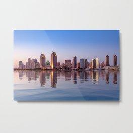 Gorgeous San Diego skyline reflected in water Metal Print