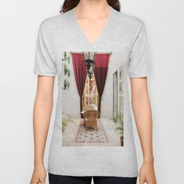Colonial Style Tea Room in Merida, Mexico Unisex V-Neck