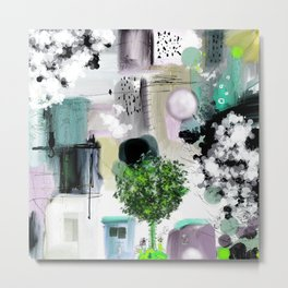 Peinture digitale maison arbres chat oiseau bulles Metal Print