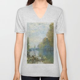 The Banks of The Seine in Autumn by Claude Monet Unisex V-Neck