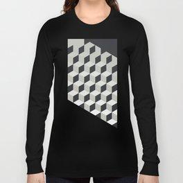 Gradient Cubes – Ebony Black / Warm Gray Abstract Print Long Sleeve T-shirt