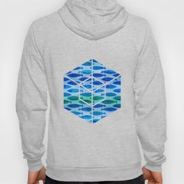 Blue Turquoise Green Watercolor Fish Pattern Hoody