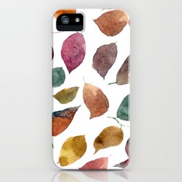 Leaves. Watercolor leaves pattern. Autumn leaves. iPhone Case