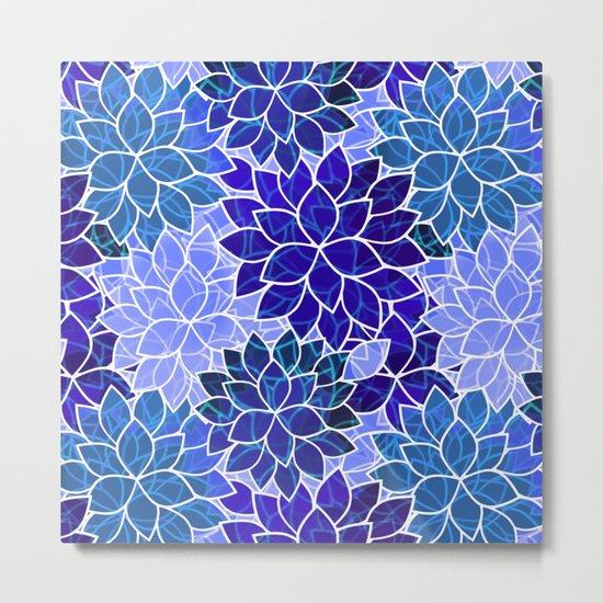 Azurite Blue Flowers Metal Print
