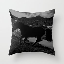 Monochrome Mustang Throw Pillow