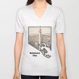 Washington Monument, Baltimore MD Unisex V-Neck