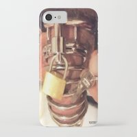 penis iPhone & iPod Cases featuring funny painting cock dick key penis submission cage BDSM fetish chastity master Dom dominatrix by Velveteen Rodent