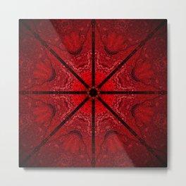 Red and Black Star Mandala Metal Print