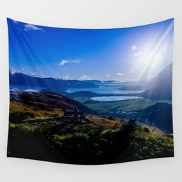 lake wanaka covered in blue colors new zealand beauties and mountains at sunrise Wall Tapestry