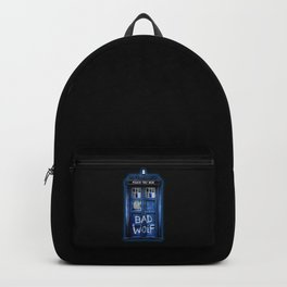 Phone box doctor with Bad wolf graffiti Backpack