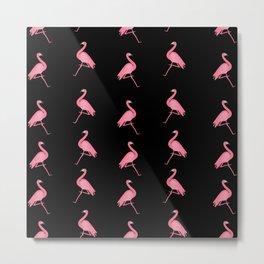 Pink Flamingos on Black Background Pattern Metal Print