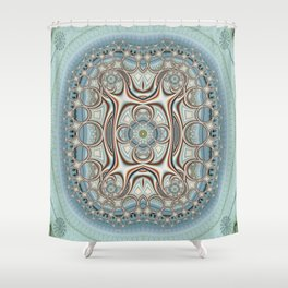 Playful circles pattern with dandelions Shower Curtain