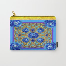 September Birthstone Blue Sapphire Peonies Gold Art. Carry-All Pouch