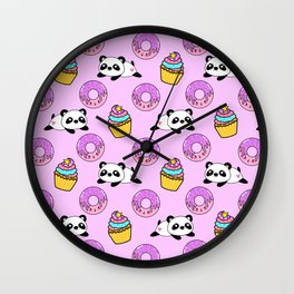 Cute funny Kawaii chibi little playful baby panda bears, happy sweet donuts and adorable yummy cupcakes light pastel pink pattern design. Nursery decor. Wall Clock