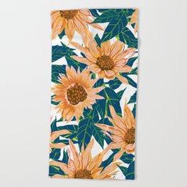 Blush Sunflowers Beach Towel