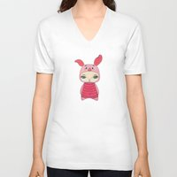 piglet V-neck T-shirts featuring A Boy - Piglet (porcinet) by Christophe Chiozzi