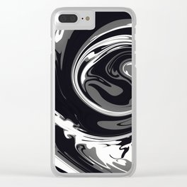 HURRICANE black white and grey swirl abstract design Clear iPhone Case