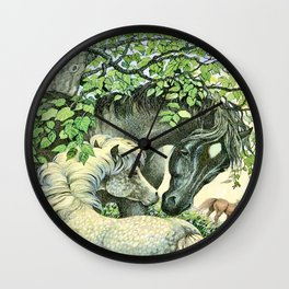 """""""Mare and Foal"""" by Susan Jeffers  Wall Clock"""