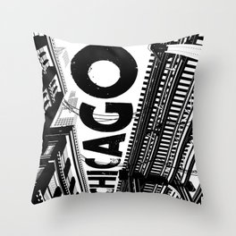 Cities in Black - Chicago Throw Pillow