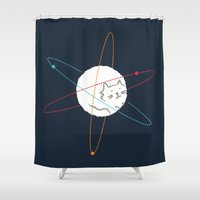 physics Shower Curtains featuring Cat-ion by Picomodi