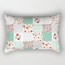 Poppies quilt pattern mint floral flowers patterned florals squares Rectangular Pillow