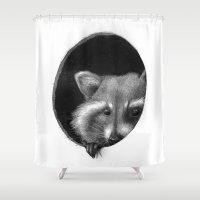 raccoon Shower Curtains featuring Raccoon by Tim Van Den Eynde