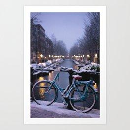Amsterdam Bike in the Snow Art Print
