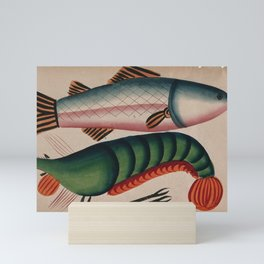 A lobster and a fish. Gouache painting by an Indian artist, Mini Art Print