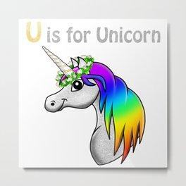 U is for Unicorn Metal Print