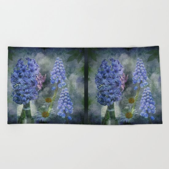 Painterly spring flowers on a grunge background Beach Towel