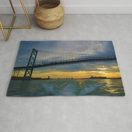 The Ambassador Bridge connects Detroit USA, & Windsor CA Rug