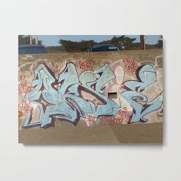#Graffiti - Light Blue Letters - Ocean Beach Metal Print