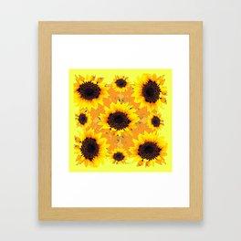 Decorative Golden Yellow  Black Sunflower patterns Framed Art Print