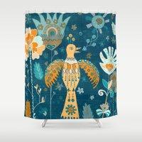 folk Shower Curtains featuring Folk Garden by Carolina Coto Art