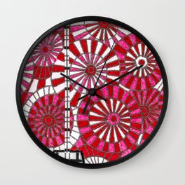 Xmas ornaments in red Wall Clock