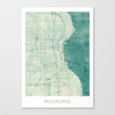 Milwaukee Map Blue Vintage Canvas Print