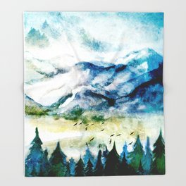 Mountain Landscape Throw Blanket