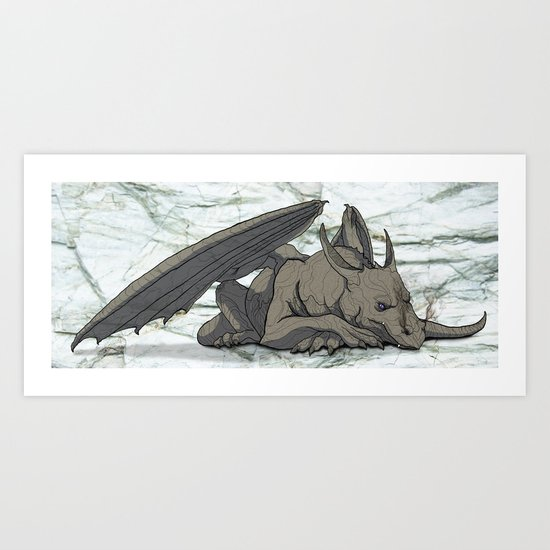 Grey Dragon Art Print