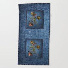 Denim Design With Jacobean Floral Beach Towel