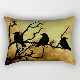 Crows on Branch Against Stormy Sky Art A522 Rectangular Pillow