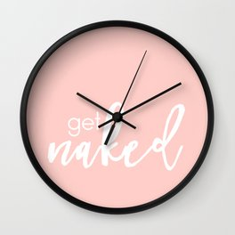 Bathroom Decor // get naked - white on light pink Wall Clock