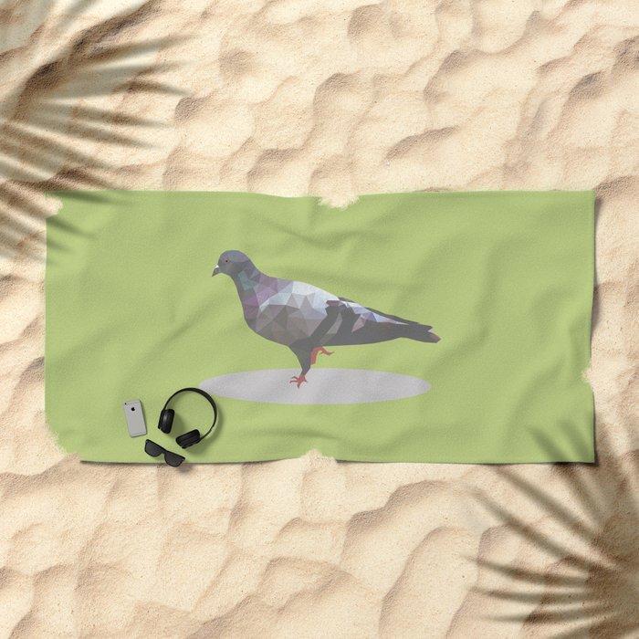 pigeon  polygon style Beach Towel