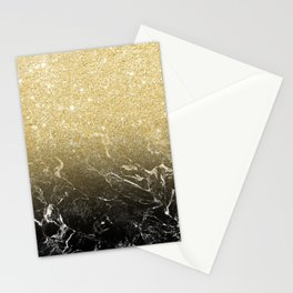 Modern girly luxurious faux gold glitter black marble pattern Stationery Cards