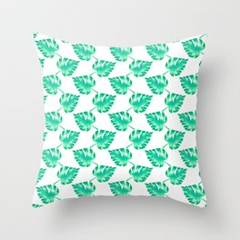 Watercolor Monstera Leaves on White Throw Pillow