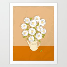 bouquet of white camomiles in the vase Art Print