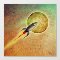 spaceship Canvas Prints featuring SPACESHIP by Oscar Civit