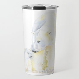 Mother and Baby Polar Bears Watercolor Travel Mug