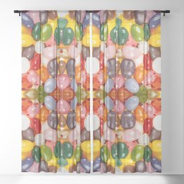 Cool colorful sweet Easter Jelly Beans Candy Sheer Curtain