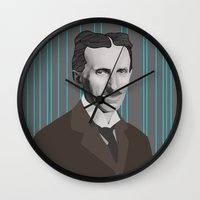 tesla Wall Clocks featuring Tesla by DariyCraft